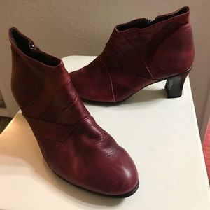 Shoes - Red leather booties